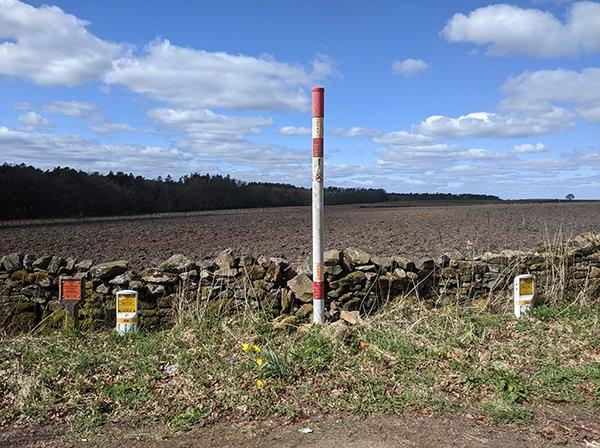 Pipeline running across landowners property